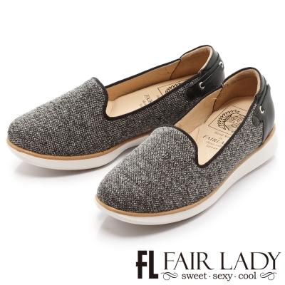 Fair Lady Soft Power軟實力 運動風異材質拼接樂福休閒鞋 黑反絨