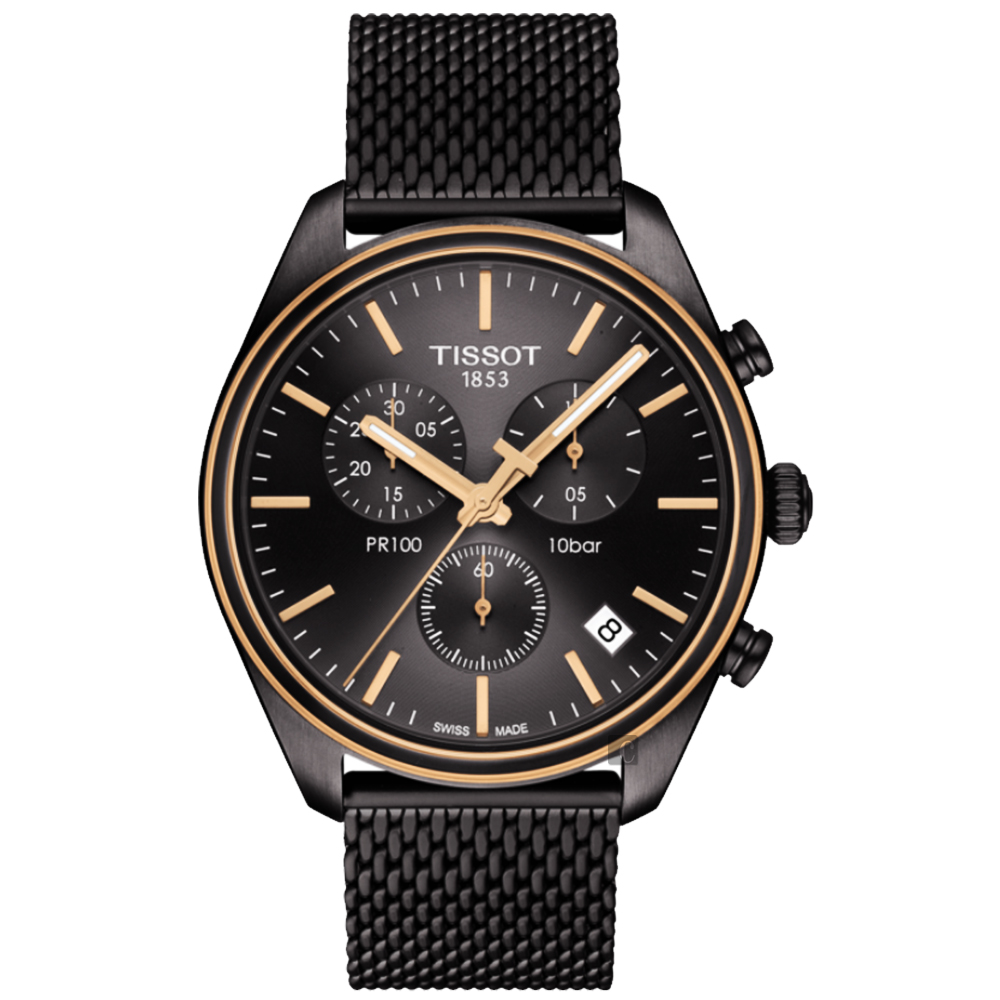 TISSOT天梭 PR100 經典米蘭帶計時手錶-鍍黑/41mm