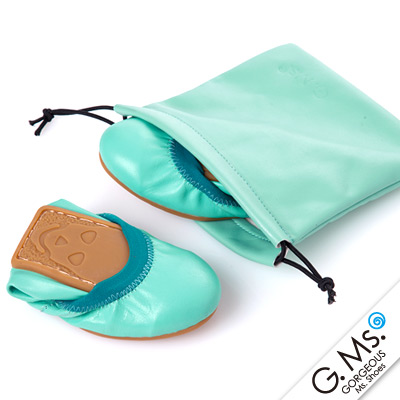 【G.Ms.】旅行女孩II‧素面鬆緊口全真皮可攜式軟Q娃娃鞋(附專屬鞋袋) ‧薄荷綠