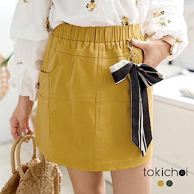 東京著衣 甜美休閒緞帶裝飾短裙-S.M(共二色)