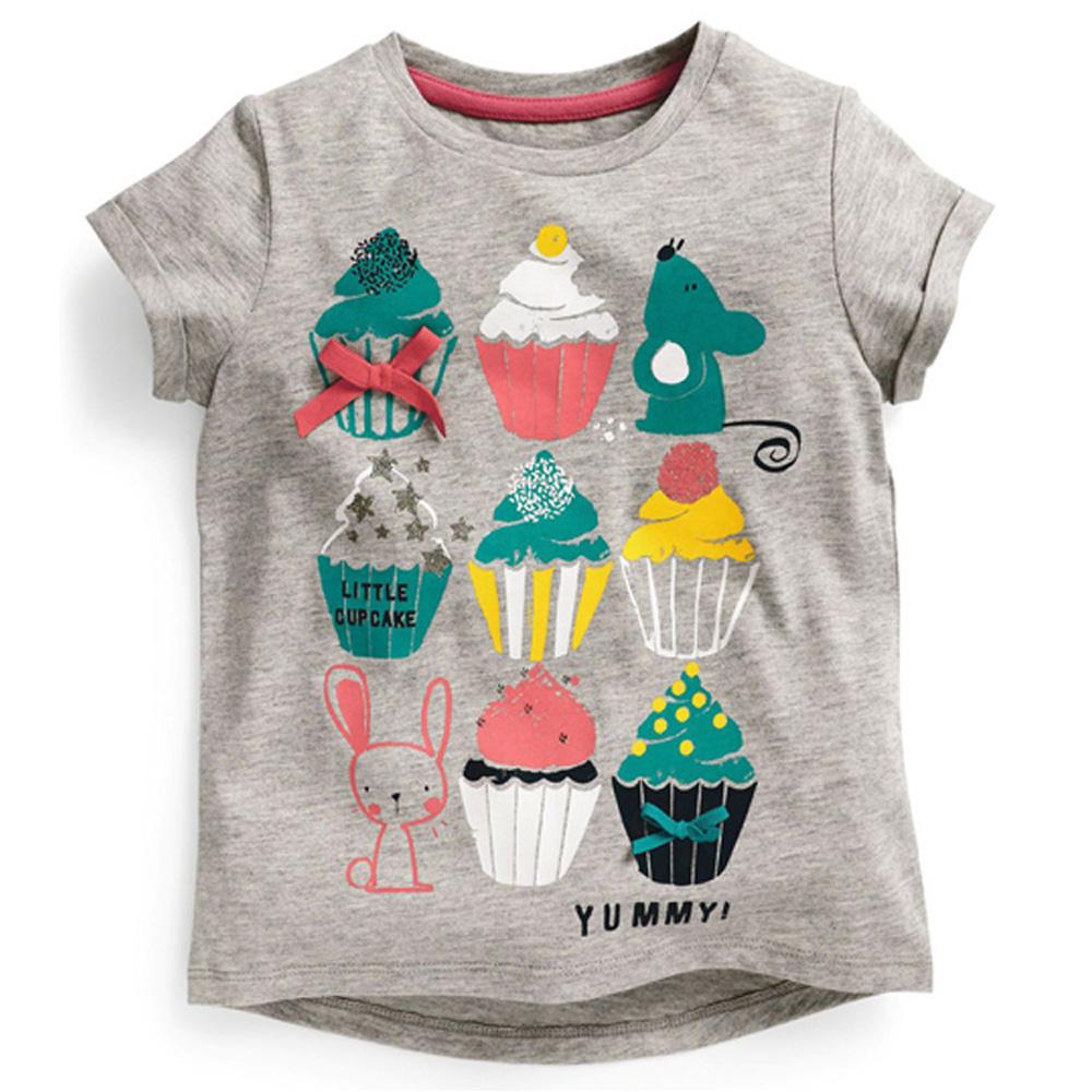 歐美風格設計 小童女童短棉T居家外出 冰淇淋甜筒 灰色