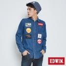 EDWIN 自在感受 單口袋繡字牛仔襯衫-男款(酵洗藍)