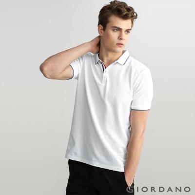 GIORDANO 男裝紅白藍飾帶小立領修身POLO衫- 15 標誌白色