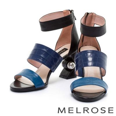 涼鞋 MELROSE 摩登字帶鱷魚壓紋牛皮造型粗跟涼鞋-藍