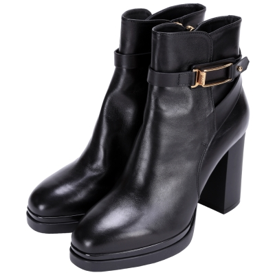 TOD'S 金框設計牛皮粗跟靴(黑色)