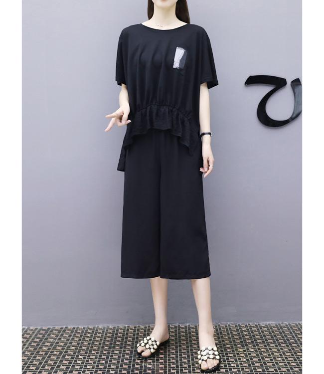 中大尺碼貼布字母拼色拉鍊前短後長上衣闊腿褲XL~4L-Ballet Dolly