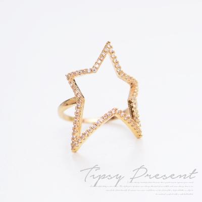 微醺禮物 戒指 頂級鋯石 合金鍍K金 斜角星星 戒指