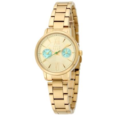 ELLE 雙眼設計感跳色不鏽鋼時尚腕錶-淡金色/29mm