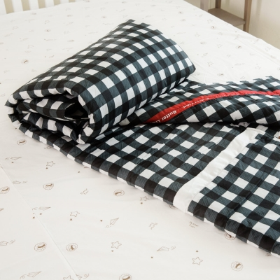 奶油獅-格紋系列-台灣製造-100%精梳純棉雙面薄被套-黑-單人