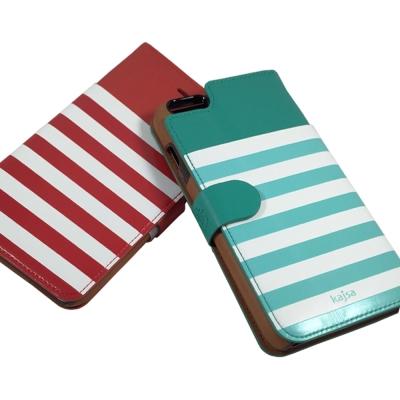 kajsa iphone 6 5.5吋 海軍風格條紋系列保護皮套