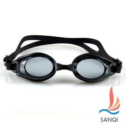 SANQI三奇 夏日必備抗UV防霧休閒泳鏡(753-黑F)