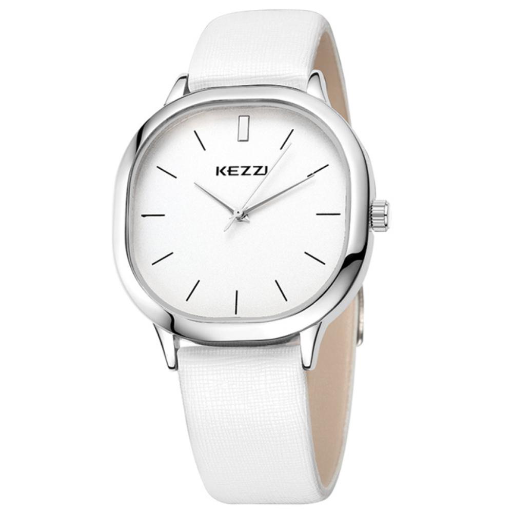 Kezzi-1125日式極簡方形情侶手錶-白色x男38x38mm