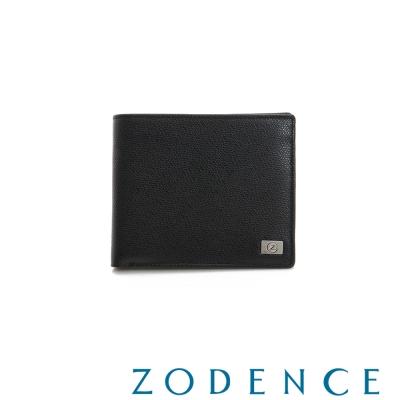 ZODENCE-MAN-優質真皮系列荔枝紋兩折短夾-黑