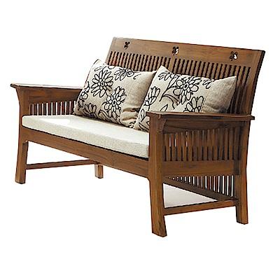 品家居 爾莎亞麻布柚木實木雙人椅-138x70x90cm-免組