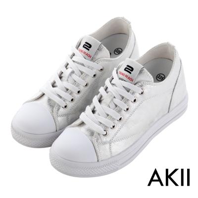 AKII韓國空運‧時尚高質感隱形增高帆布鞋-銀色