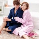 天使霓裳 浪漫純粹 甜蜜滿分情侶款珊瑚絨睡袍(深藍&淺紫F)
