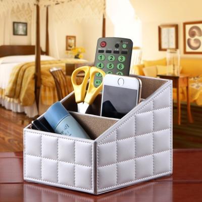 幸福揚邑 精品歐式方格紋皮革遙控器化妝品飾品三格桌面收納盒-經典白