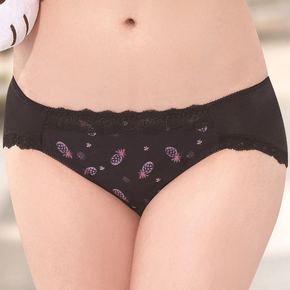 莎薇 Hello Kitty  熱力時尚 無縫款 M-LL 低腰三角褲(墨黑色)