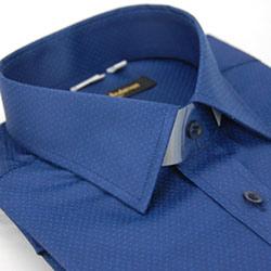 金‧安德森 藍底淺藍點窄版長袖襯衫