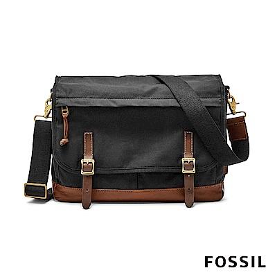 FOSSIL DEFENDER 信差商務側背包帆布款-黑色