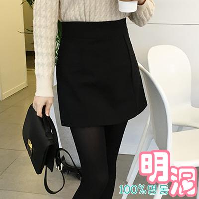 正韓 素面立體縫線高腰短褲裙 (共三色)-100%明洞