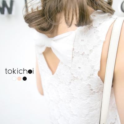 東京著衣 優雅蕾絲花朵無袖上衣-S.M(共三色)