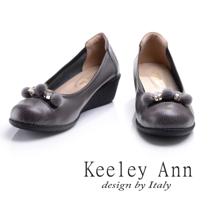 Keeley Ann質感拼接~晶鑽毛絨小圓球OL真皮娃娃鞋(芋色)