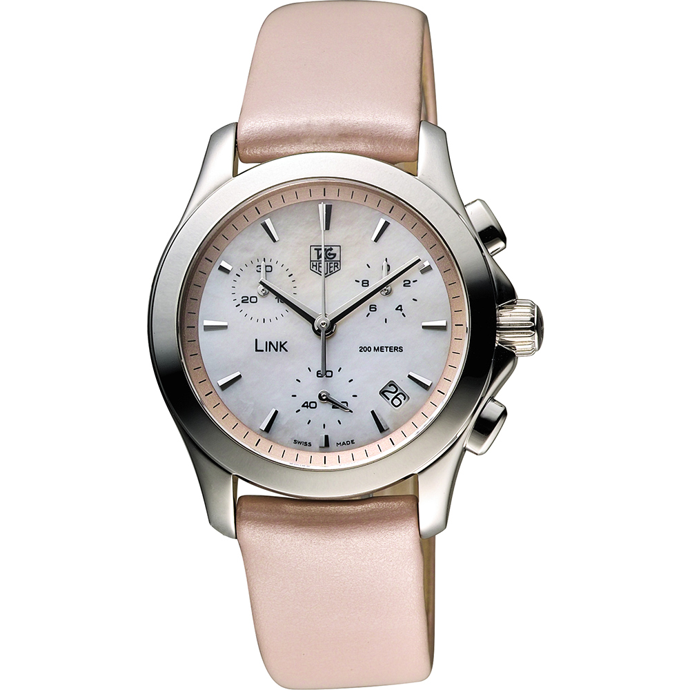 TAG HEUER 豪雅 LINK 系列優雅風姿計時腕錶-珍珠貝x粉/33mm