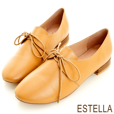 ESTELLA-英倫雅痞-全真皮綁帶時尚紳士鞋-駝