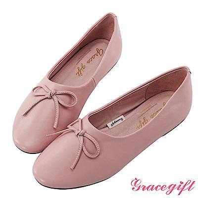 Grace gift-全真皮蝴蝶結平底娃娃鞋 粉