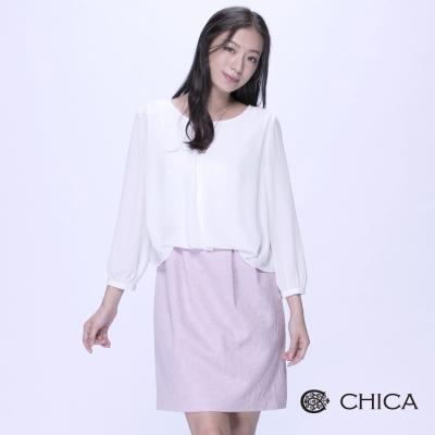 CHICA-假兩件雪紡緹花裙八分袖洋裝-2色