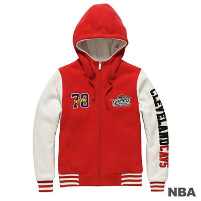 NBA-克里夫蘭騎士隊雙袖拼接繡字棒球外套-紅-女