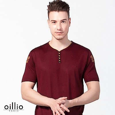 歐洲貴族oillio 短袖線衫 小V領款 雙袖圖騰圖案 紅色