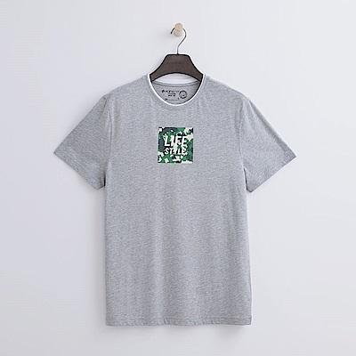 Hang-Ten-男裝-有機棉-迷彩方格T恤-灰色