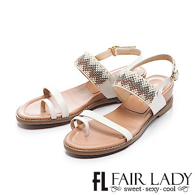 Fair Lady 幾何圖形串珠裝飾穿趾增高涼鞋 白
