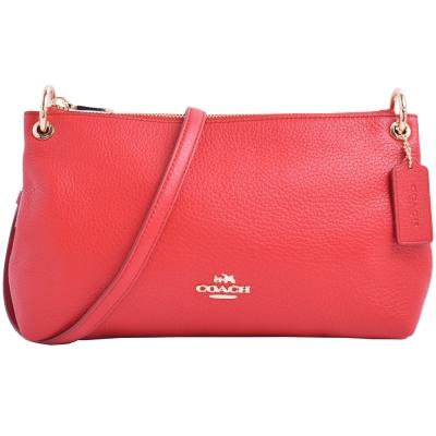 COACH-立體馬車Logo-素面質感皮革斜背包-紅