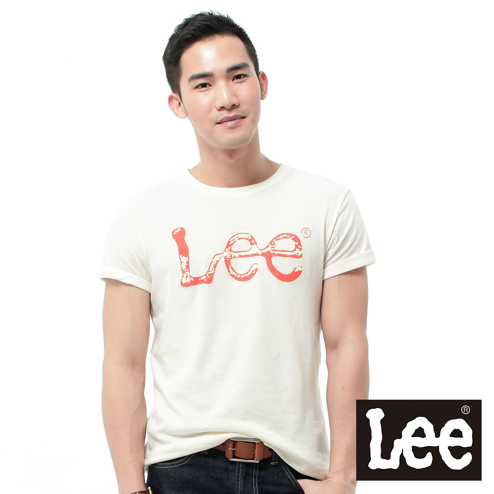 Lee 短袖T恤 橘色LOGO噴漆印刷 -男款(鵝黃)