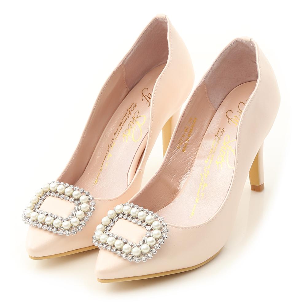 D+AF 夢幻逸品.水鑽珍珠飾釦美形高跟鞋*粉