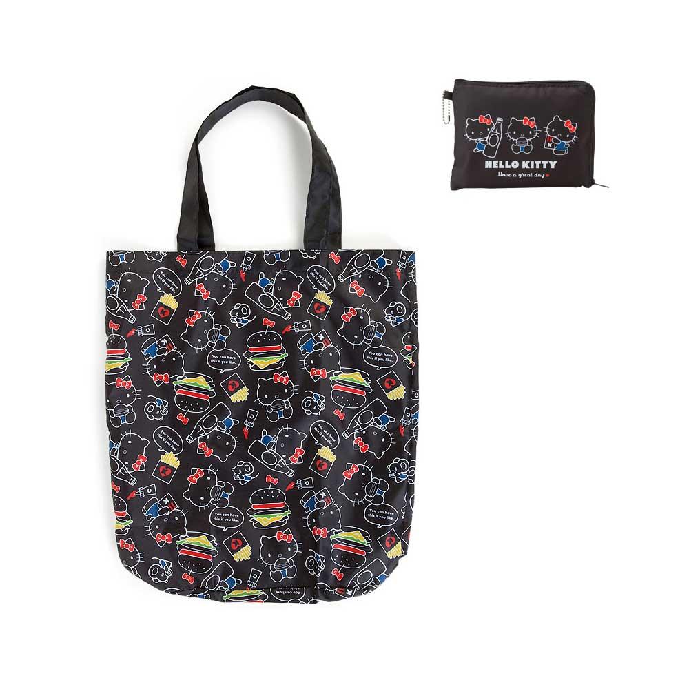 Sanrio HELLO KITTY滿版圖案環保購物袋(美味食物黑)