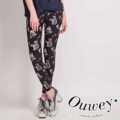OUWEY歐薇-玫瑰提花窄管長褲