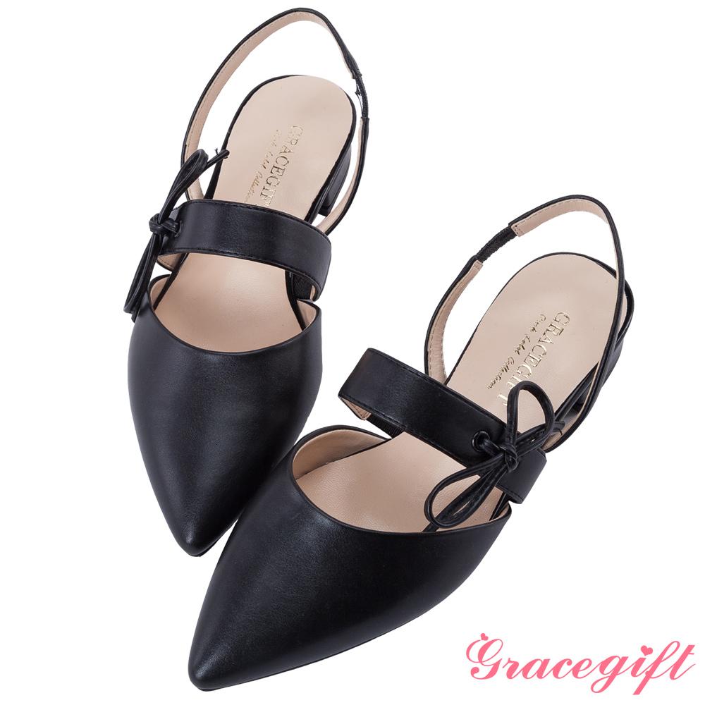 Grace gift-綁結條帶後縷空尖頭平底鞋 黑