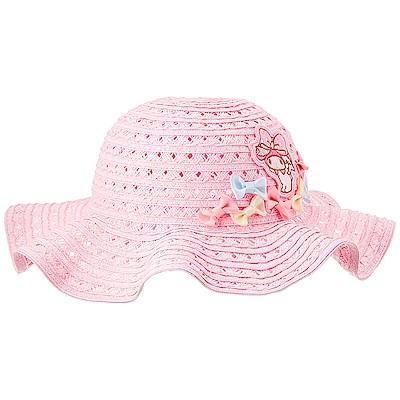 Sanrio 美樂蒂女童用編織遮陽帽(粉彩蝴蝶結)