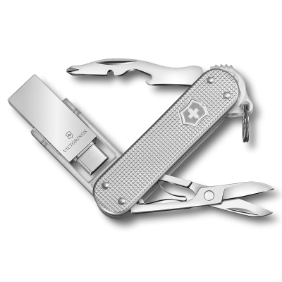 VICTORINOX 瑞士維氏ALOX金屬殼6用USB瑞士刀-銀