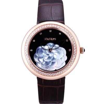 AuRox歐銳時 山茶花貝殼浮雕不袗石英鑽錶(AR1121-玫瑰金) -38mm