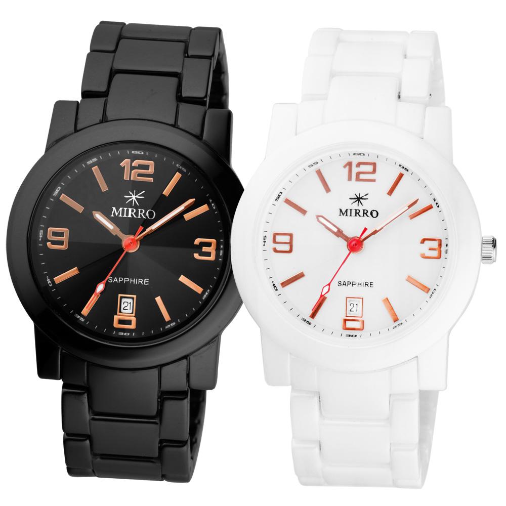 MIRRO 愛戀風潮時尚都會陶瓷對錶-黑白x玫瑰金