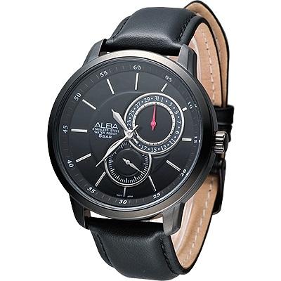 ALBA 魅力大錶徑雙環時尚腕錶(AW2013X1)-IP黑/46mm