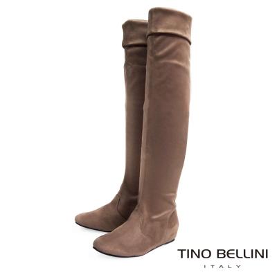 Tino Bellini 歐風時髦內增高過膝長靴_駝