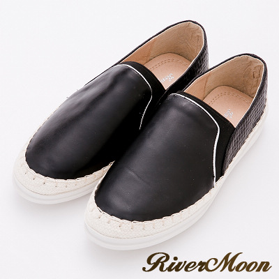 River&Moon休閒鞋-加大尺碼金屬編織拼接麻編休閒鞋-黑系