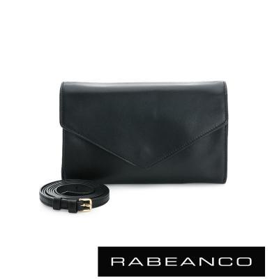 RABEANCO-迷時尚系列牛皮兩用信封包-黑