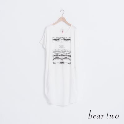 beartwo-前短後長拼接雪紡短袖上衣-二色